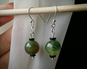 Green Agate Fish Hook Earrings