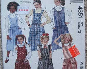 UNCUT Girls Jumpers and Jumpsuit - Size 12 - McCalls Pattern 4351 - Vintage 1989