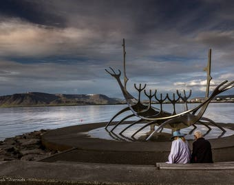 Photo print - Older couple at the Sun Voyager, Reykjavik