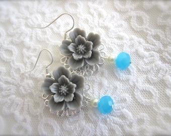 Flower Earrings Gray Aqua turquoise Wedding jewelry Whimsical Bridesmaids jewelry Gift earrings Shabby chic Bridal Jewelry.
