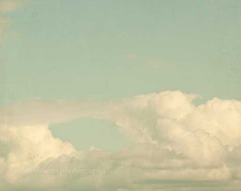 White Clouds in a Blue Sky Photograph, dreamy home decor photo
