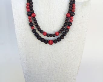 Cranberry and Black Multi Strand Necklace - Fall Color - Red Statement Necklace - Multi Strand Necklace - Handmade Beaded Jewelry - Gift