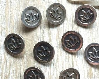 Silver Lotus Button - Sterling Lotus Button - Sterling Silver Button - Lotus Jewelry Finding - Bracelet Button - Silver Shank Lotus Button