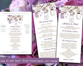 Mason Jars Wedding Program Microsoft Word Template | Purple Lavender Rustic Ceremony Program | Printable Tea Length Wedding Program
