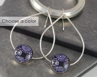 Circuit Board Teardrop Earrings Violet, Sterling Silver Statement Jewelry, Gift for Her, Wearable Technology, Artisan Statement Earrings