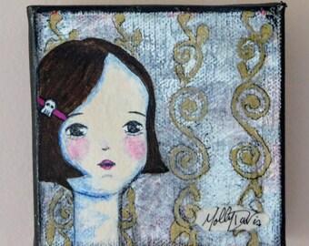 "Mixed Media Painting ""Jane"" Skull Girl Series 4"" x 4"""