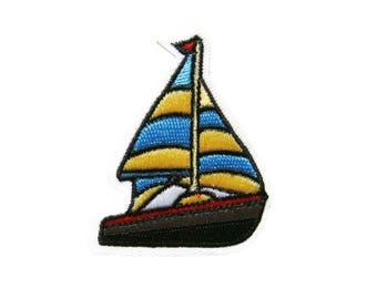 Sailboat Patches Applique Boat Embroidered Iron on Patch