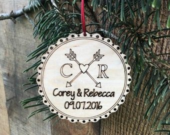 Personalized First Anniversary Christmas Ornament First Date Anniversary First Anniversary Gift 5th Anniversary Wood Anniversary Ornament