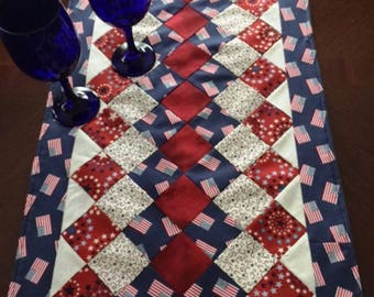 Long 4th of July Table Runner, 51 Inch or 72 Inch Quilted Table Runner, Patriotic Navy Blue Flag Runner, Handmade 4th of July Table Runner