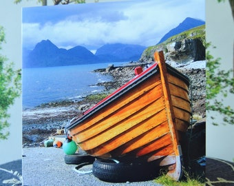 Greetings Card - Blank. The Cullins Isle of Sky Photograph. Boats. Scotland. Cards for him.