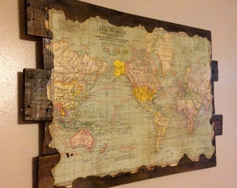 Antique World Map on Reclaimed Wood