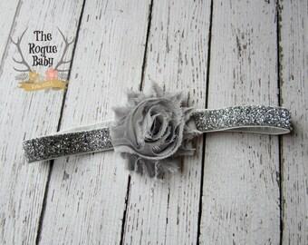 Silver Gray Baby Headband Glitter - Chiffon Flower- Newborn Baby Infant- Photo Prop Bling Hair band