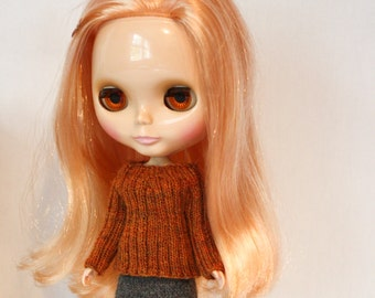 Blythe doll Ramona Sweater knitting PATTERN - ribbed pull over for Neo Blythe - instant download - permission to sell finished items