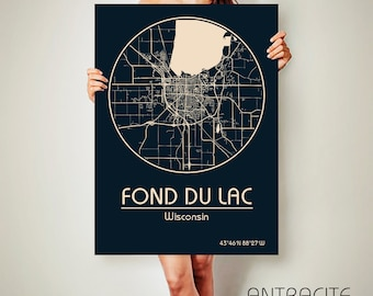 FOND du LAC Wisconsin CANVAS Map Fond du Lac Wisconsin Poster City Map Fond du Lac Wisconsin Art Print Fond du Lac Wisconsin
