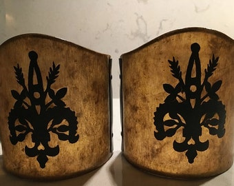 Vintage Fleur De Lis Sconce Clip On Lampshades in Champagne Mica