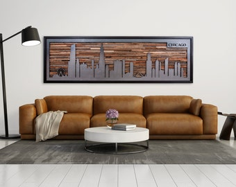 City skyline made from reclaimed barnwood and natural black steel.  Large art, wood wall sculpture, Wood wall art