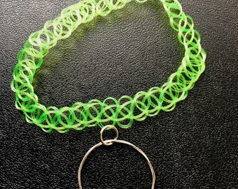 Lime Green Tattoo Choker w/ Guitar String Pendant