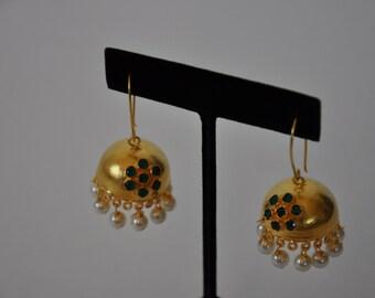Antique Finish Gold Jhumkas