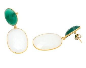 Earring 925 Sterling Milky Chalcedony & Green Onyx gemstone Dangle Earrings-Vermeil Gold