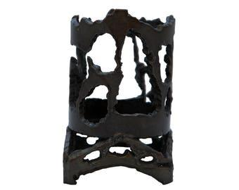 Iron brutalist candle / tea light / waxine holder