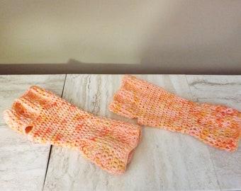 Merino Wool Fingerless Gloves, Pink and Orange Texting Mitts, Wrist Warmers, Hand Painted Merino Wool