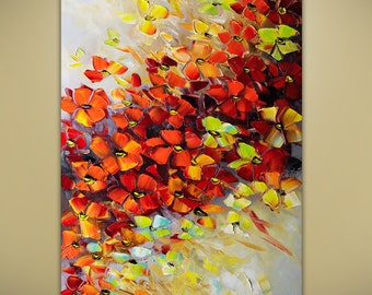 Flame of Love Flowers Flower Bouquet Oil Abstract Original Modern Textured Palette Knife Painting by Lana Guise