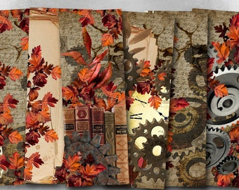 75% OFF SALE Autumn Steampunk - Digital bookmark B013 collage sheet printable download image size digital image steampunk collage hang tags