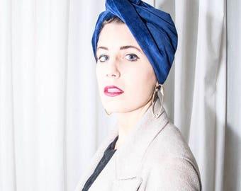 Blue-Handmade Velvet band/turban/Headband