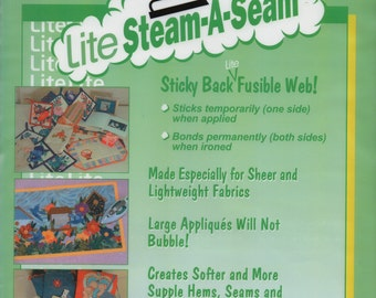 """Fusible Web - Lite Steam-A-Seam - Sticky Back Lite Fusible Web - 5 Sheets 9"""" x 12"""" - New Package"""