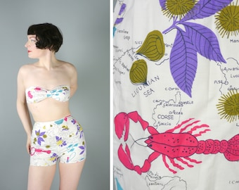 50s NOVELTY cotton bikini by Peter French - LOBSTER chestnut and wine bouteille MAP print - high waisted pants and strapless top - S