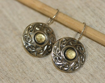 Silver Earrings,Sterling  Silver Earrings, Handmade Earrings, 925 Sterling Silver Earrings,Sterling Earrings, Yellow Stone Earrings,