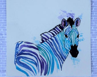 ZEBRA PRINT - watercolor zebra painting, zebra decor, nursery decor, watercolor animal art, zebra art, wildlife painting, zebra wall art