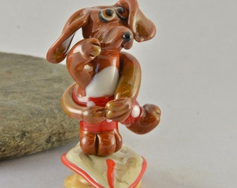 SURFING dog sculpture  lampwork glass bead set,  whimisical lampwork focal bead, Izzybeads SRA