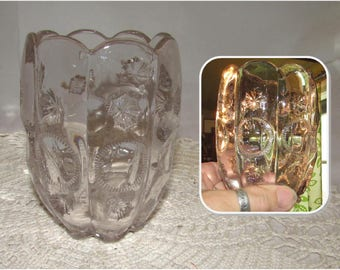 Vintage Clear Glass Spooner Vase by Dalzell, Gilmore, & Leighton Glass Co., Moon and Stars Priscilla Pattern