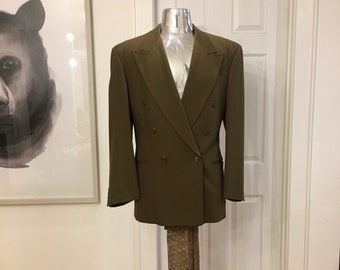 Mens Vintage HUGO BOSS Olive Green Peak Lapel Zoot Suit