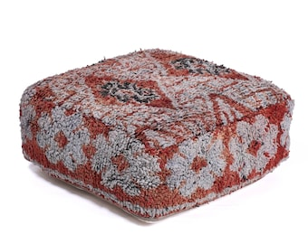 Moroccan Pouf, Floor Cushion, Berber Kilim Pouf Ottoman, Floor Pillow, Foot Stool, Refashioned from a Vintage Berber Rug. PVR034