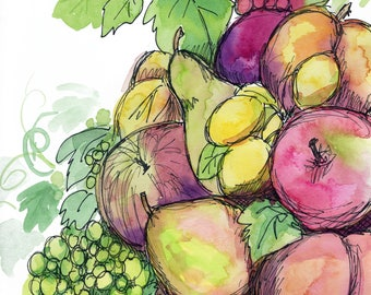 Fruit Basket Print from Original Watercolor with Pen and Ink