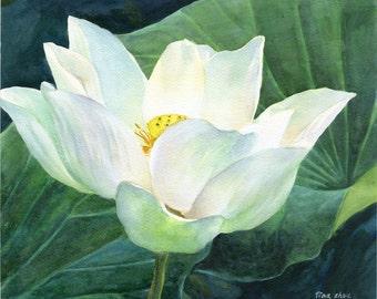 Watercolor flower, original watercolor painting, lotus painting, realism painting