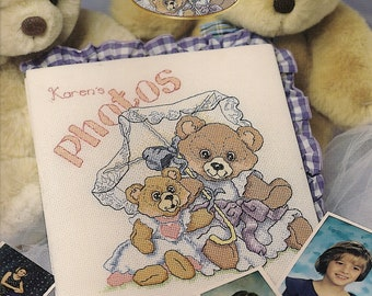 Cross Stitch Patterns Leaflet,Photo Album Cover,Cover GirlTeddy Bear Cross Stitch Patterns,Vintage Cross Stitch, Baby Cross Stitch Patterns,