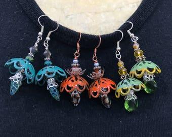 Enameled Fairy Drop Earrings