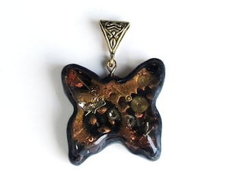 Steampunk Butterfly Pendant, Butterfly, Polymer Clay Pendant, Handmade, Jewelry, Watch Parts Pendant, Gift for Her, Mom Gift, Necklace