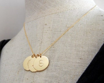 Gold Letter Necklace | Three Initial Charms | Personalized Custom Jewelry | 14K Gold Filled by E. Ria Designs