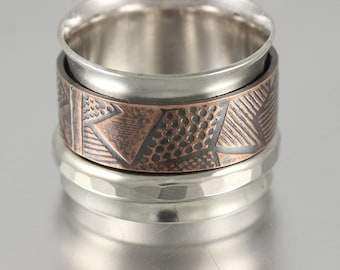 Sterling Spinner Ring with Textured Copper and Sterling Forged Wire Spinners - Anxiety Ring, Fidget Ring, Stress Ring, Meditation Ring