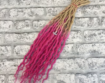 Blonde & Pink Double Ended Woolen Dreadlocks, Full Head or Accent Set, DE, SE on request, UK Seller