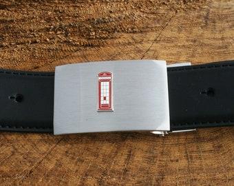 Telephone Box Black Leather Belt and Metal Buckle Set British Gift