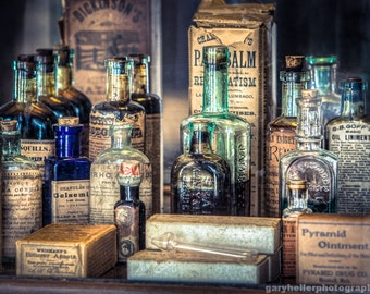 Ointments, Tonics and Potions, 19th Century Apothecary, Magic Potions, Druggists, Dr. Strong's Remedies, Photography Print, signed