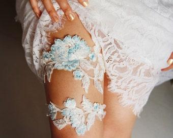 Wedding Garter Set Bridal Garter Belt - Ivory Blue Garter Lace Garters Belts - Keepsake Garter Toss Garter - Something Blue Garter Set