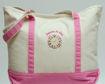 Cream/Pink Canvas Tote - Detection In Time: Breast Cancer Awareness