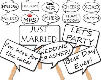 Wedding Photo Booth Speech Bubble Props, Printable Photo Props, Wedding Party Props, Instant Download - DP411