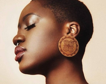 Adinkra Dwennimmen Studs // Afrocentric // Natural Wood // African and Caribbean Inspired Jewelry